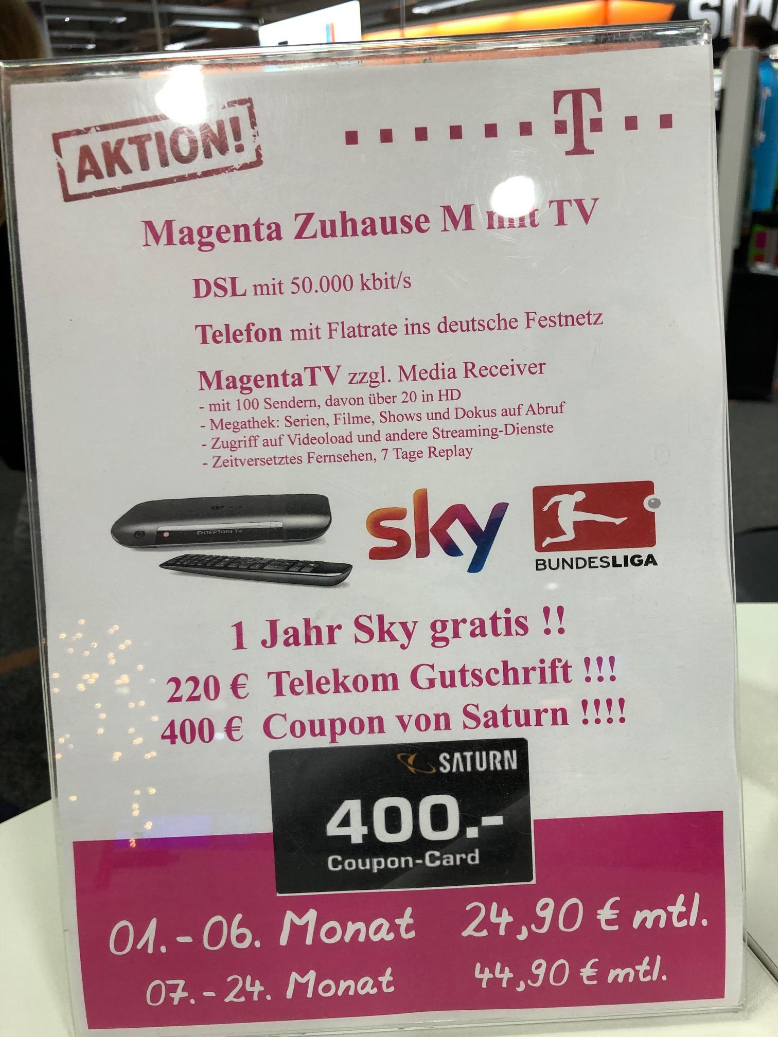 [Lokal] Saturn Bremen: Telekom Magenta M mit TV, 1 Jahr Sky, 220€ Gutschrift, 400€ Coupon