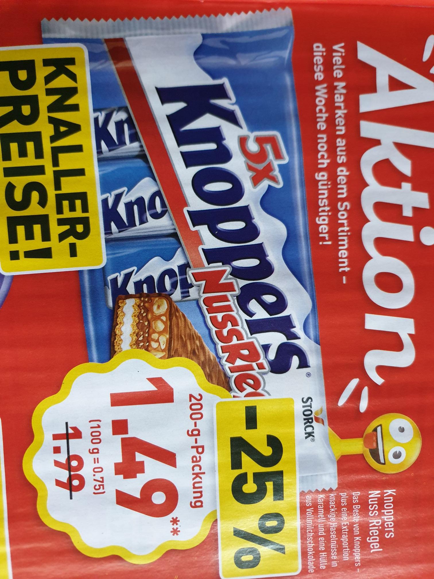 (Aldi) Knoppers Nuss Riegel 5 Stück für 1,49€