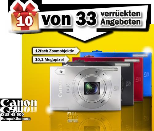 Canon IXUS 500 HS Digitalkamera (10,1 Megapixel, 12-fach opt. Zoom, 7,5 cm (3 Zoll) Display, bildstabilisiert) @ MediaMarkt.de für 129,00 EUR