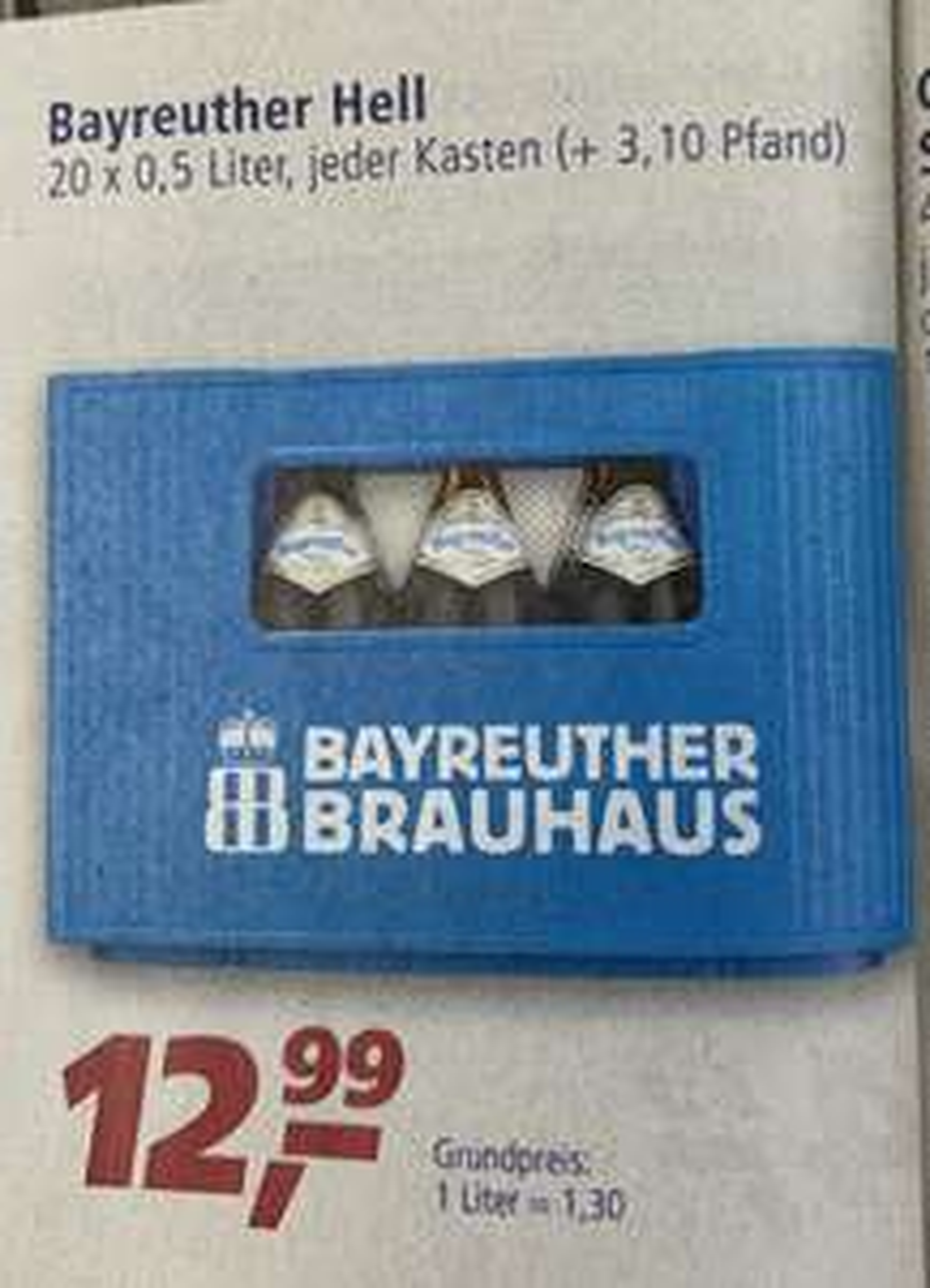 [Real] Bayreuther Brauhaus Hell - 20 x 0,5l Fl - für 12,99 € zzgl. 3.10€ Pfand ab 09.09.2019