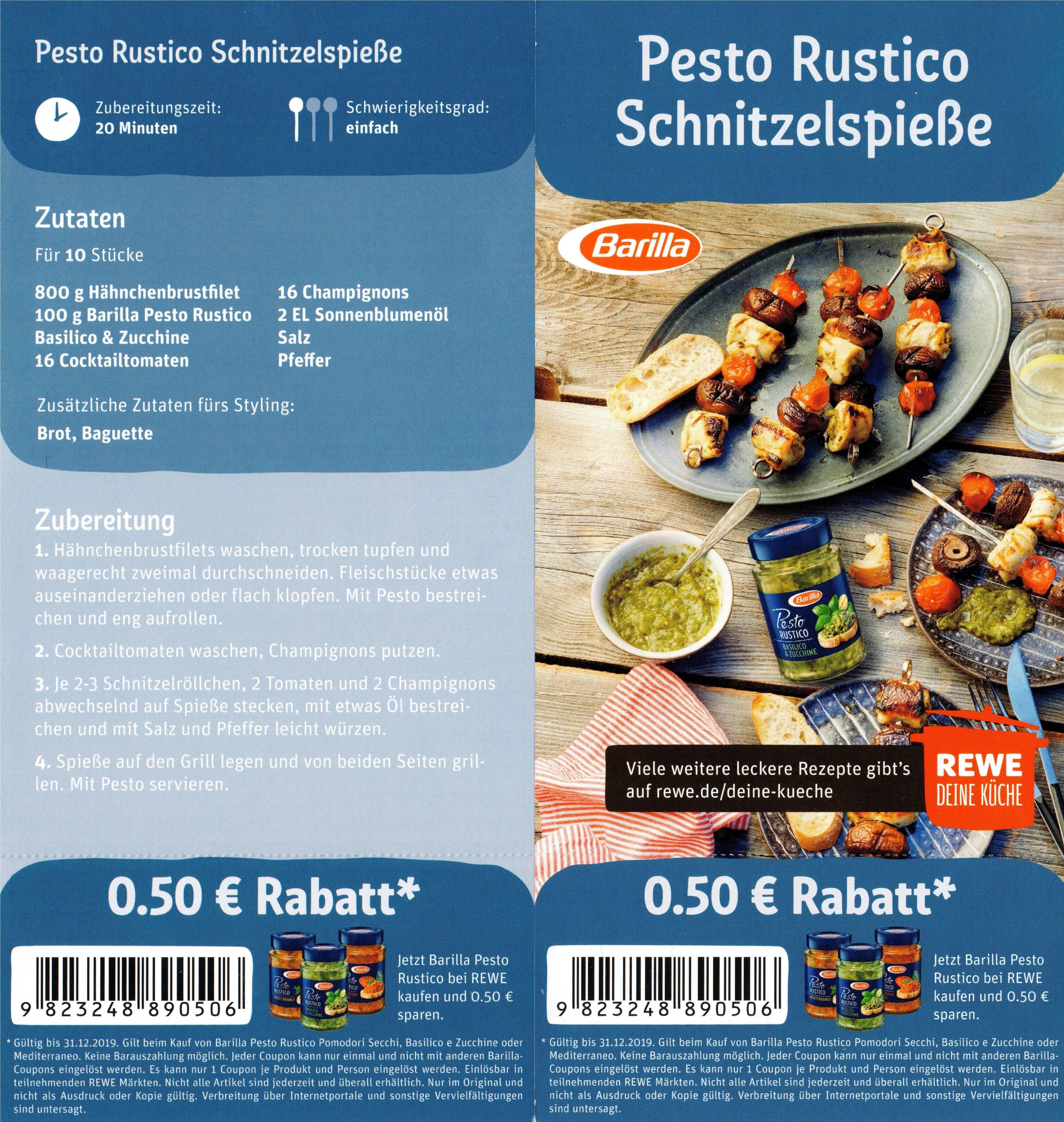 0,50€ Rabatt Coupon für den Kauf einer Barilla Pesto Rustico bis 31.12.2019 [Rewe]
