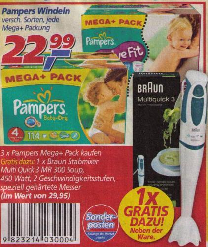 Pampers Mega+ Pack für 68,97 € + Gratis Braun Multiquick 3 ab 10.12. bei real