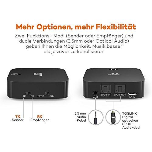 TaoTronics Bluetooth Adapter Transmitter Empfänger 2 in 1 Bluetooth 5.0