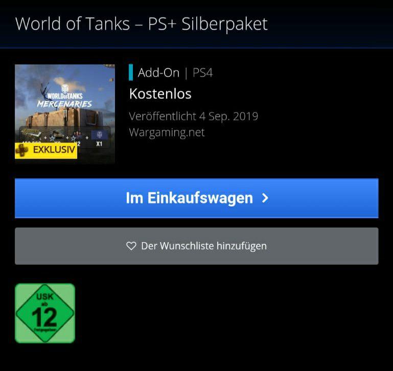 [PS Plus] World of Tanks PS4 - Silberpaket kostenlos