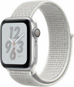 Apple Watch Nike+ Series 4 (GPS) Aluminium 40mm silber mit Sport Loop weiß (Laptopsdirect UK)