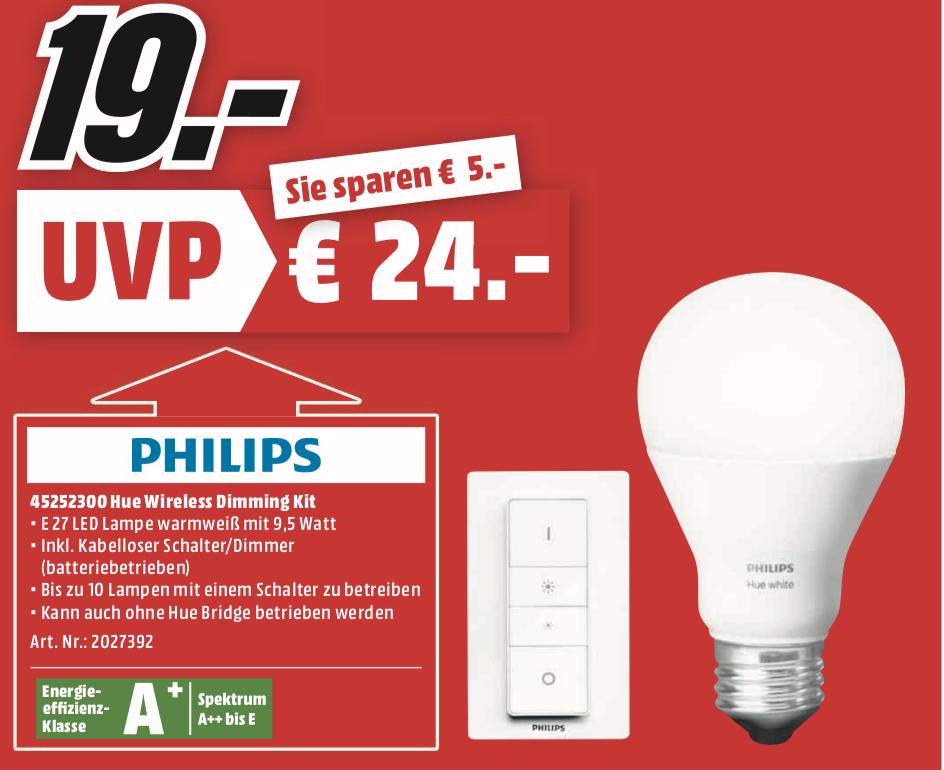 [Lokal: Media Markt Heidelberg & Ludwigshafen] PHILIPS 45252300 Hue Wireless E27 Dimming Kit, warmweiß