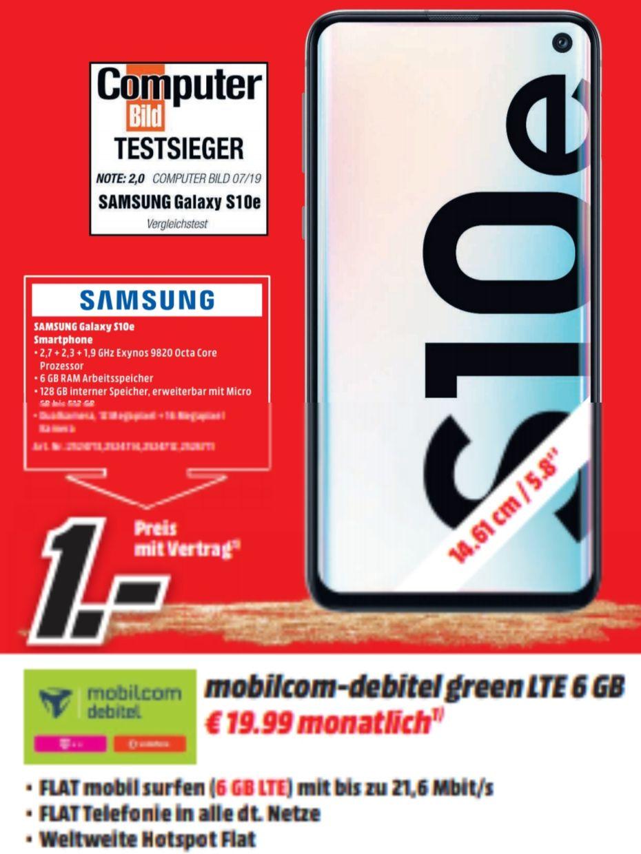 [Regional Ludwigshafen Heidelberg] Samsung Galaxy S10e im Debitel Telekom (6GB LTE) mtl. 19,99€   S10 26,99€ mtl   P30 19,99€ mtl.