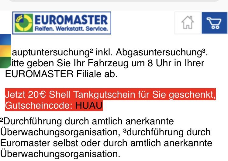 20€ Tankgutschein für HU/AU bei Euromaster