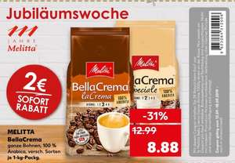 [Kaufland ab 12.09] Melitta Bella Crema-Ganze Bohne in versch.Sorten, in der 1KG Packung für nur 6,88€ mit Coupon / Dallmayr Prodomo 3,33€