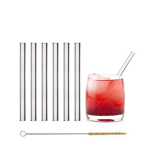 (Amazon Deal) HALM Glas Strohhalme Wiederverwendbar Trinkhalm - 6 Stück kurz gerade 15 cm + plastikfreie Reinigungsbürste