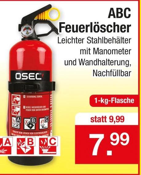 ABC Feuerlöscher OSEC 1kg für Haus, Boot, Camping oder KFZ inkl. Wandhalterung & Manometer, Nachfüllbar