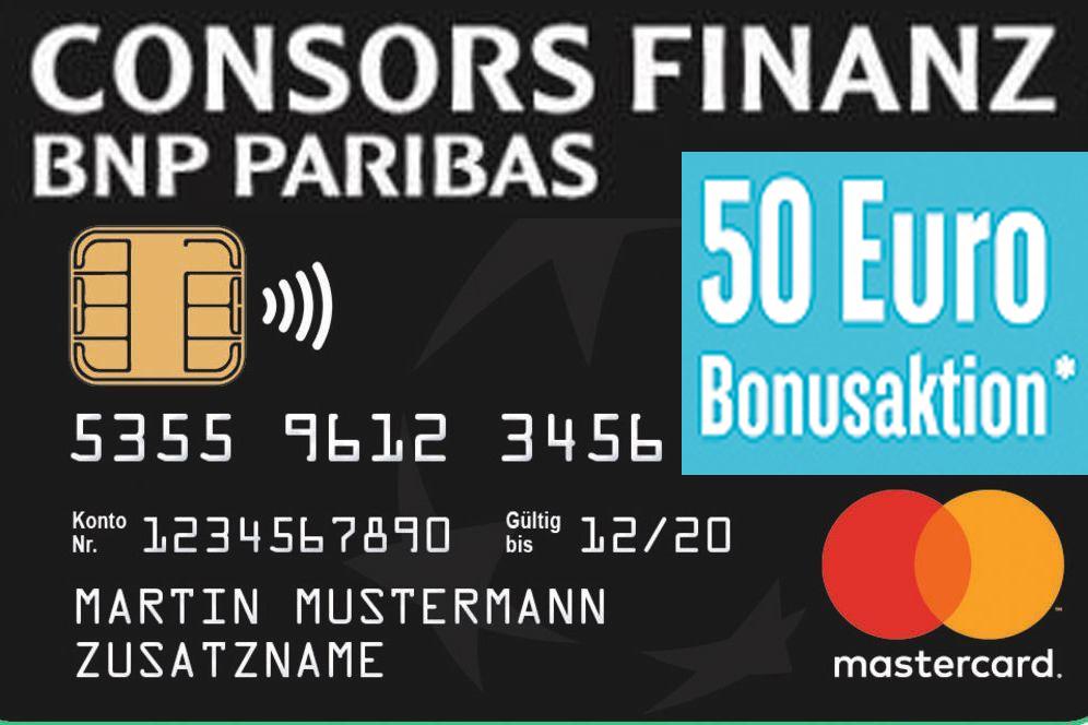 Consors Kreditkarte ohne Jahresgebühr mit 50€ Gutschrift für Neukunden
