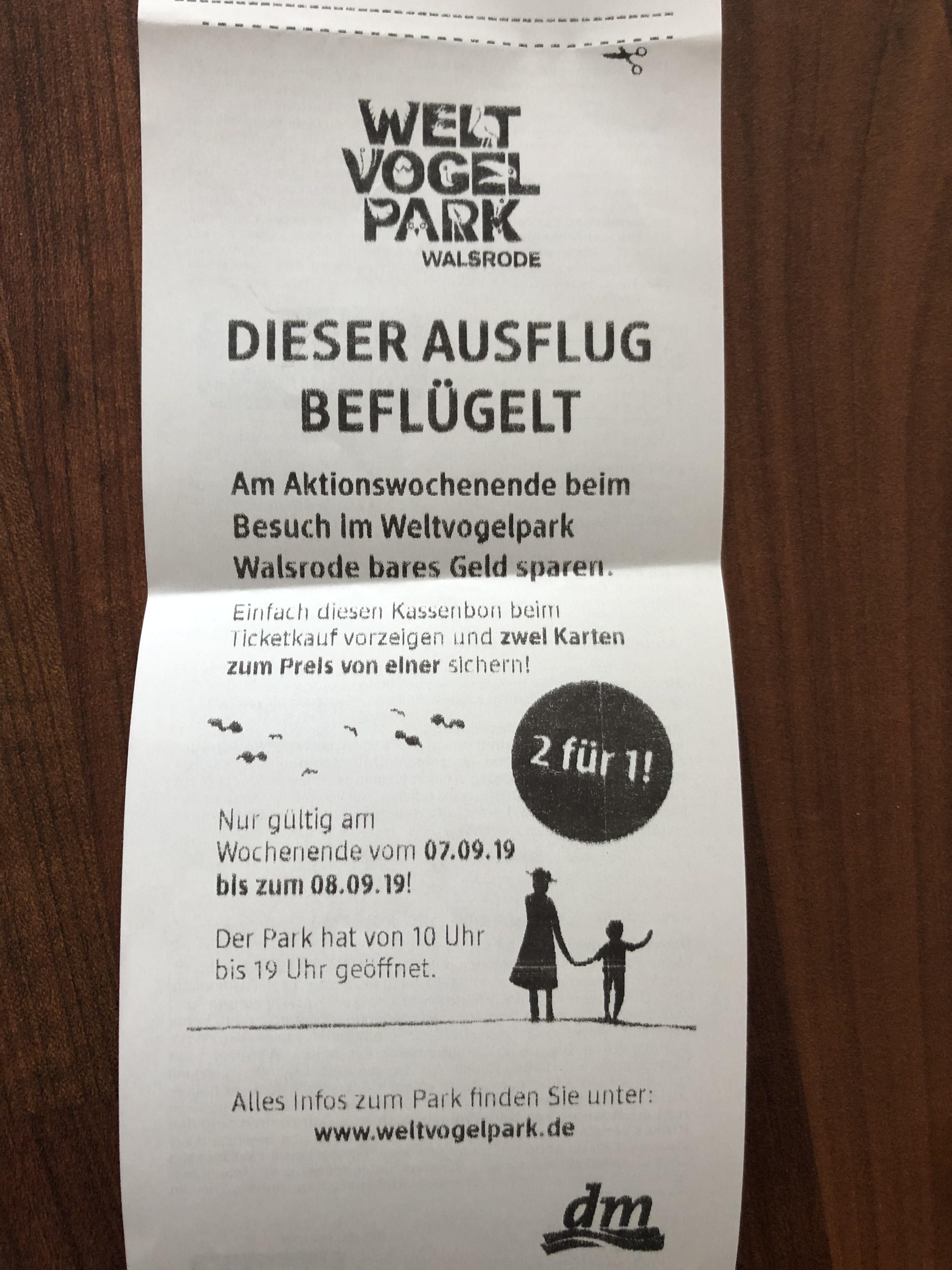 Lokal Vechelde: Vogelpark Walsrode 2 für 1 Gutschein