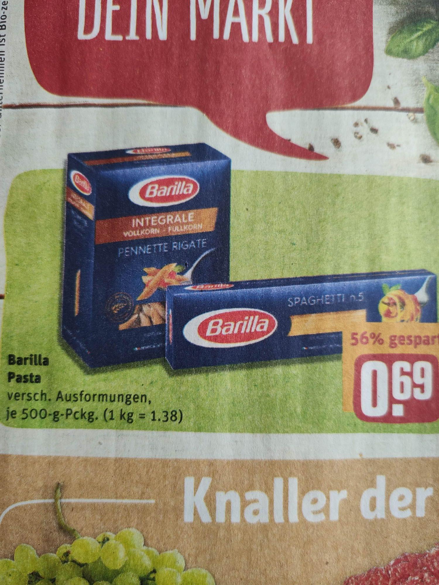 Barilla Integrale u.a. im Angebot 500g für 0,69€ (REWE)