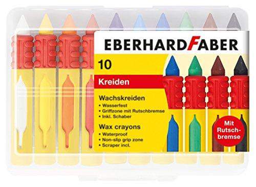 Eberhard Faber Wachsmalkreiden wasserfest, mit Schiebehülse & Rutschbremse 10er Box für 2,99€ (Amazon Prime & Müller)