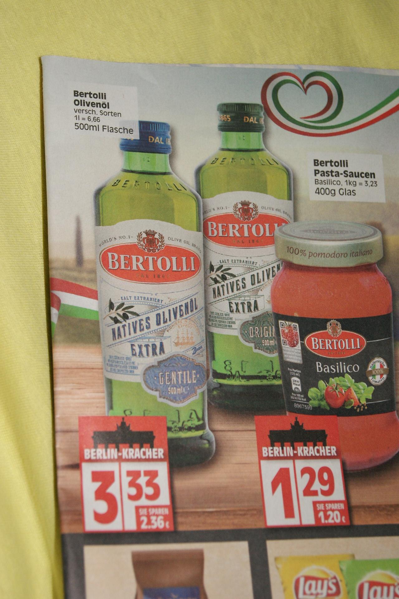 Bertolli Olivenöle nur 3,33 Euro je 500ml-Flasche (lokal Berlin)
