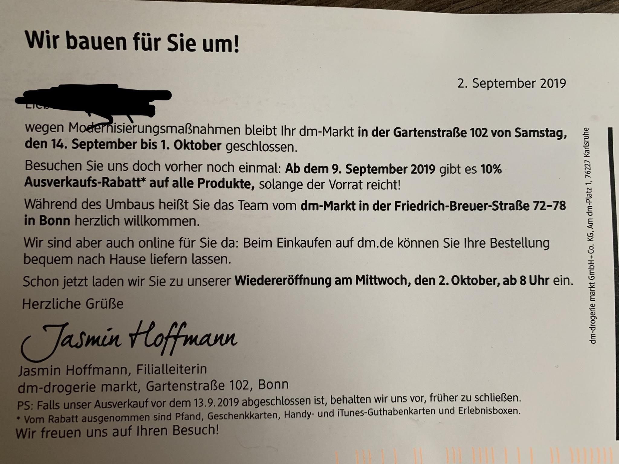 [Bonn Beuel] 20% Rabatt bei DM Gartenstraße vom 09.-14.09.