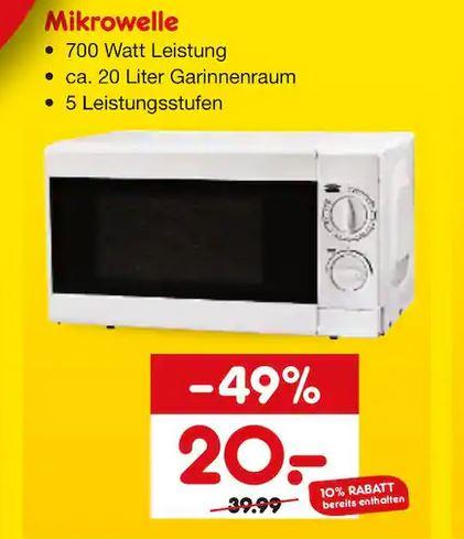 [Lokal - Netto Marken-Discount Giengen und Oberkochen] Mikrowelle, 700 Watt, 20 Liter Garraum für 20€
