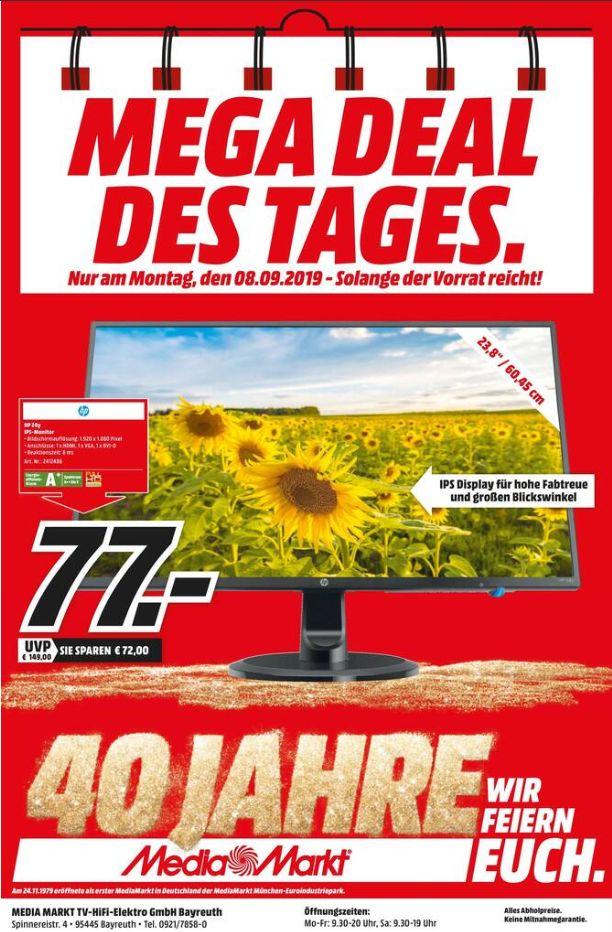 [Regional Mediamarkt Bayreuth-Nur Montag] HP 24y - 61 cm (24 Zoll), LED, IPS-Panel,FHD für 77,-€