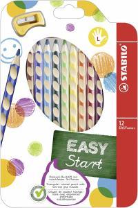 STABILO Buntstifte EASYcolors 12er-Etui mit 12 verschiedenen Farben mit Spitzer für Linkshänder oder Rechtshänder für je 9,99€ (Müller)