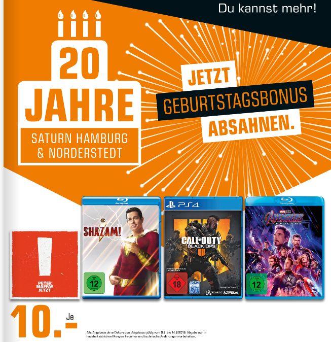 [Regional Saturn Hamburg-Alle Märkte/Norderstedt] Call of Duty: Black Ops 4 PS4 // Shazam (Blu-Ray) // Avengers Endgame (Blu-Ray) für je 10€