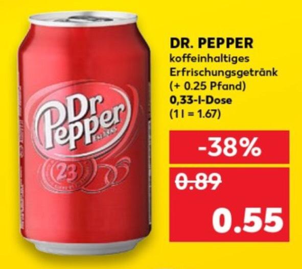 Kaufland Lokal ab Montag, 16.09.19 Dr Pepper  0,33l Dose für nur 0,55€ im Angebot, durch Coupon sogar 0,38€ pro Dose siehe Beschreibung