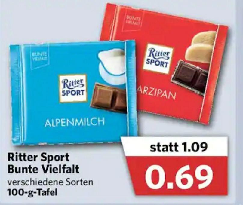 """[Combi/Couponplatz] [09.09-11.09] 3 Tafeln Ritter Sport """"Bunte Vielfalt"""" für 1,57€ (~0,53€/Tafel) durch Coupon"""