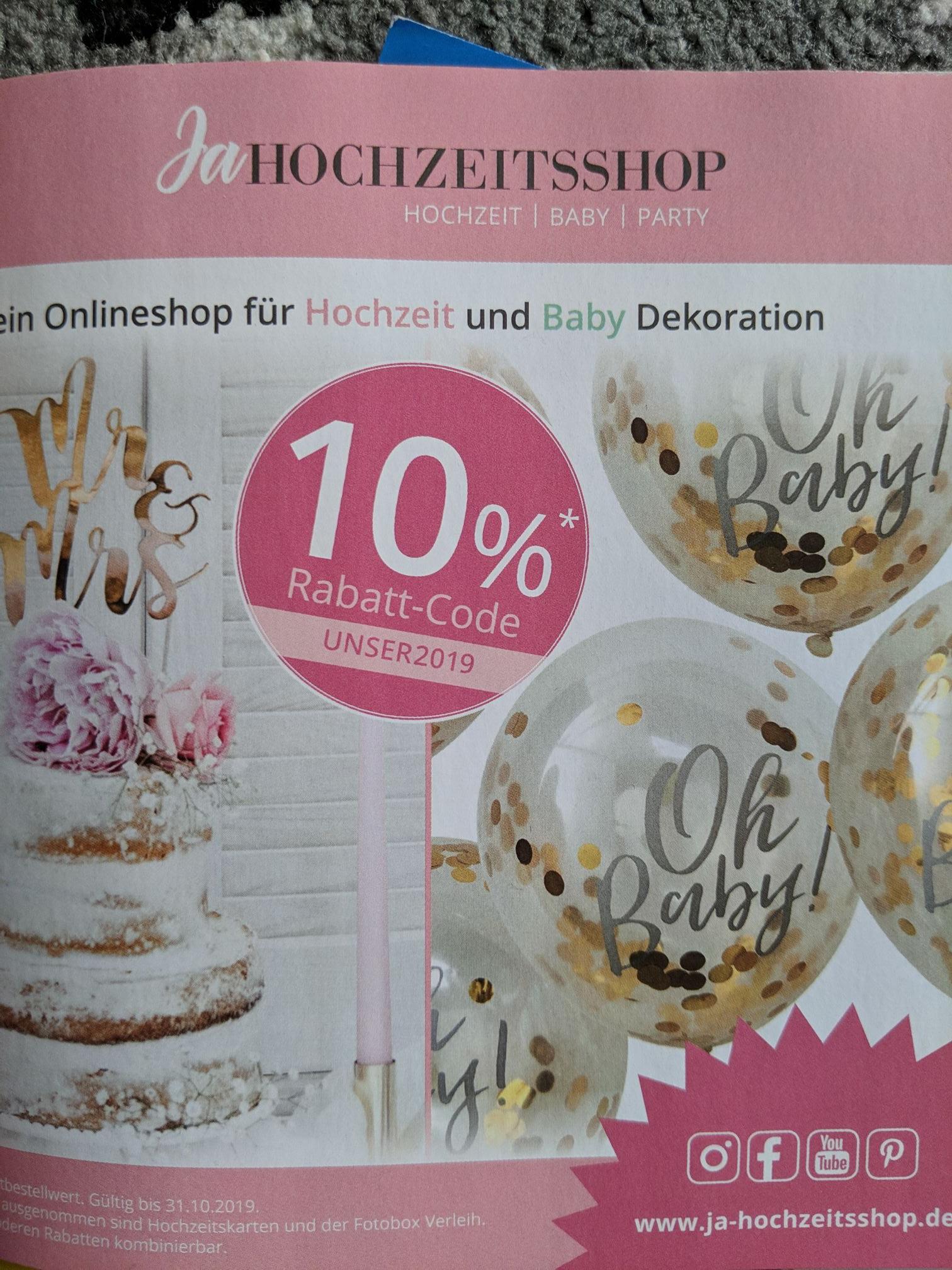 10% Gutschein bei Ja Hochzeitshop (ohne MBW)