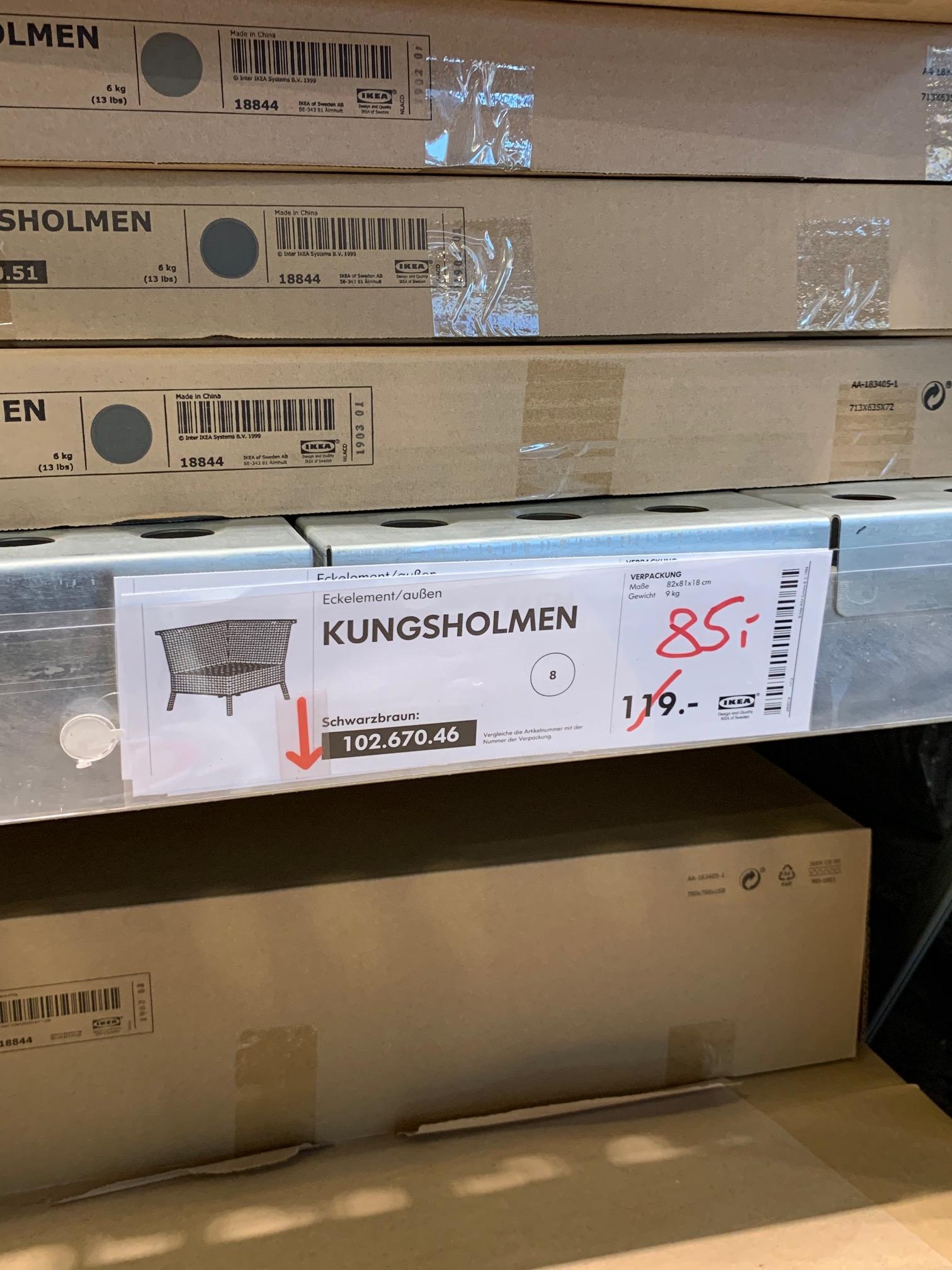 [Lokal IKEA Berlin Lichtenberg] Diverse KUNGSHOLMEN Garten-/Terrassenmöbel reduziert, z.B. Sitzelement für 59€ statt 100€