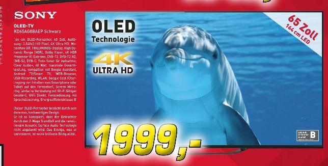 [Regional Denker in Borken] SONY KD-65AG8, 164 cm (65 Zoll), OLED 4K, SMART TV, OLED TV, DVB-T2 HD, DVB-C, DVB-S, DVB-S2 für 1999,-€