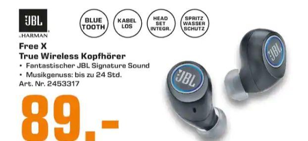 [Regional Saturn Heidelberg/Kaiserslautern/Karlsruhe/ludwigshafen/Mannheim/Pforzheim] JBL Free X, Wireless In-Ear-BT-Kopfhörer für 89,-€
