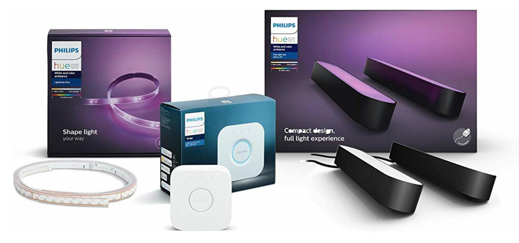 Philips Hue Gaming Starter-Set (1x Philips Hue Play Lightbar Doppelpack schwarz, 1x Bridge, 1x LightStrip+ 2m) // in weiß für 163,48€