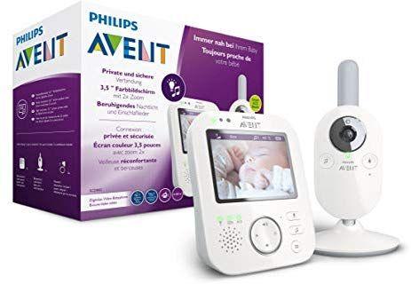 Philips AVENT SCD843/26 Video-Babyphone, 3,5 Zoll Farbdisplay, Eco-Mode, Gegensprechfunktion, Nachtlicht, weiß-grau [Amazon]