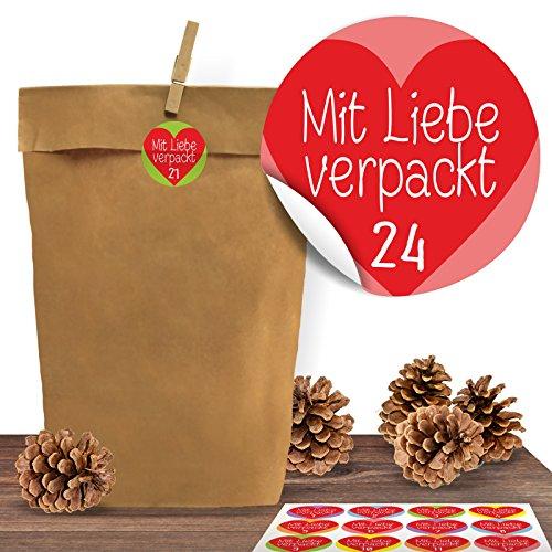 """(Amazon Marketplace ) 24 Adventskalender Kraftpapiertüten mit 24 weihnachtlichen Aufkleber-Zahlen """"Mit Liebe verpackt"""""""