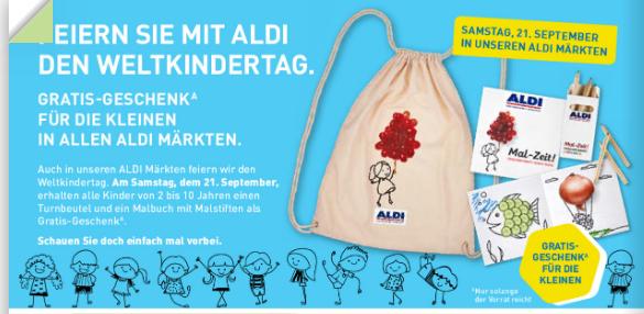 [ALDI-Nord]  Gratis Turnbeutel mit Malbuch und Stifte für Kinder 2-10 Jahre am Weltkindertag