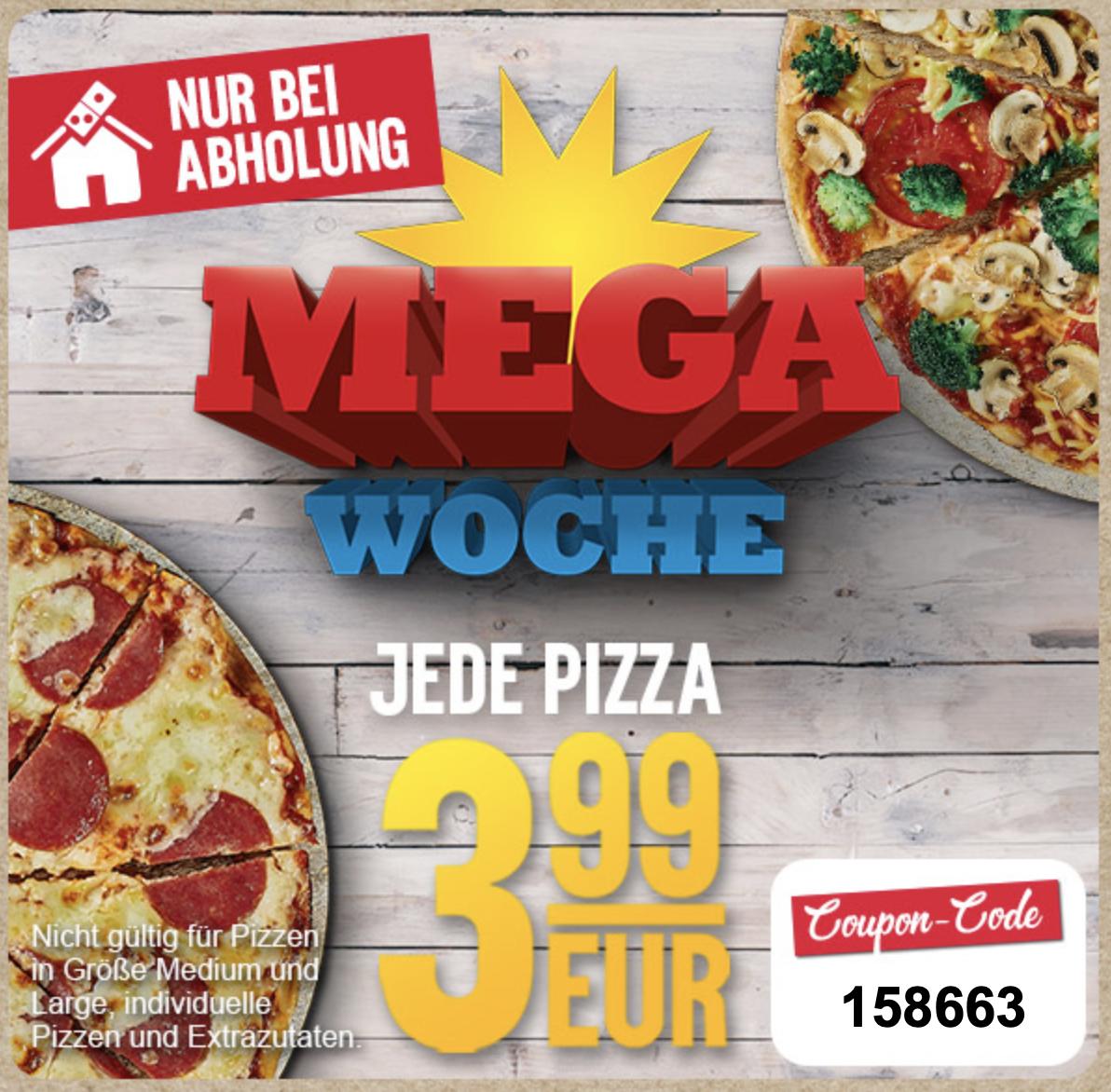 Jede Pizza für 3,99 € bei Domino's bei Abholung