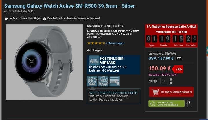 Samsung Galaxy Watch Active Smartwatch 150,09€