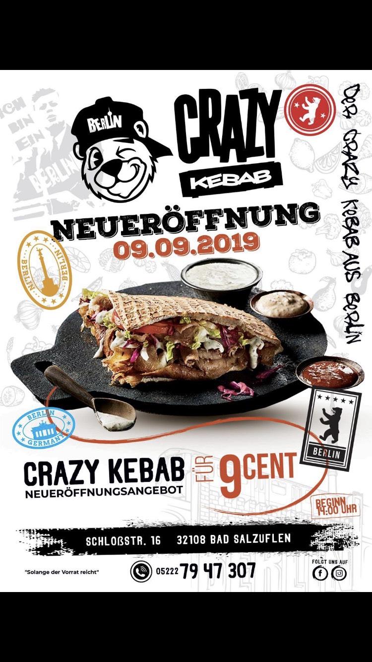 (Lokal Bad Salzuflen) Crazy Kebab Eröffnungsangebot Döner für 9ct