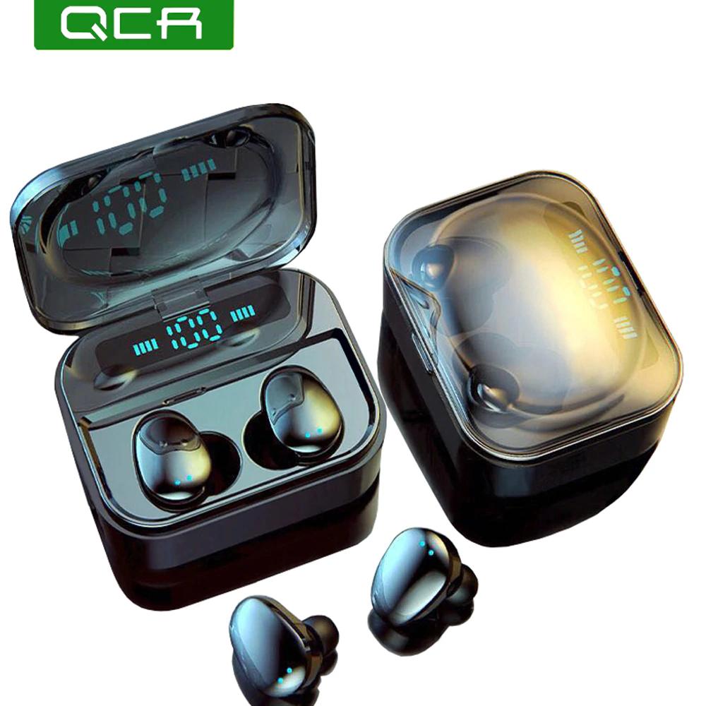 QCR TWS 5,0 Bluetooth Kopfhörer IP7 Drahtlose Kopfhörer 6D Stereo HiFi Wireless Earbus Gaming Headset mit Mikrofon 2200mAh