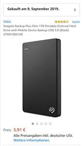 PREISFEHLER - Seagate Backup Plus Slim 1TB Portable External Hard Drive with Mobile Device Backup USB 3.0 (Black) STDR1000100