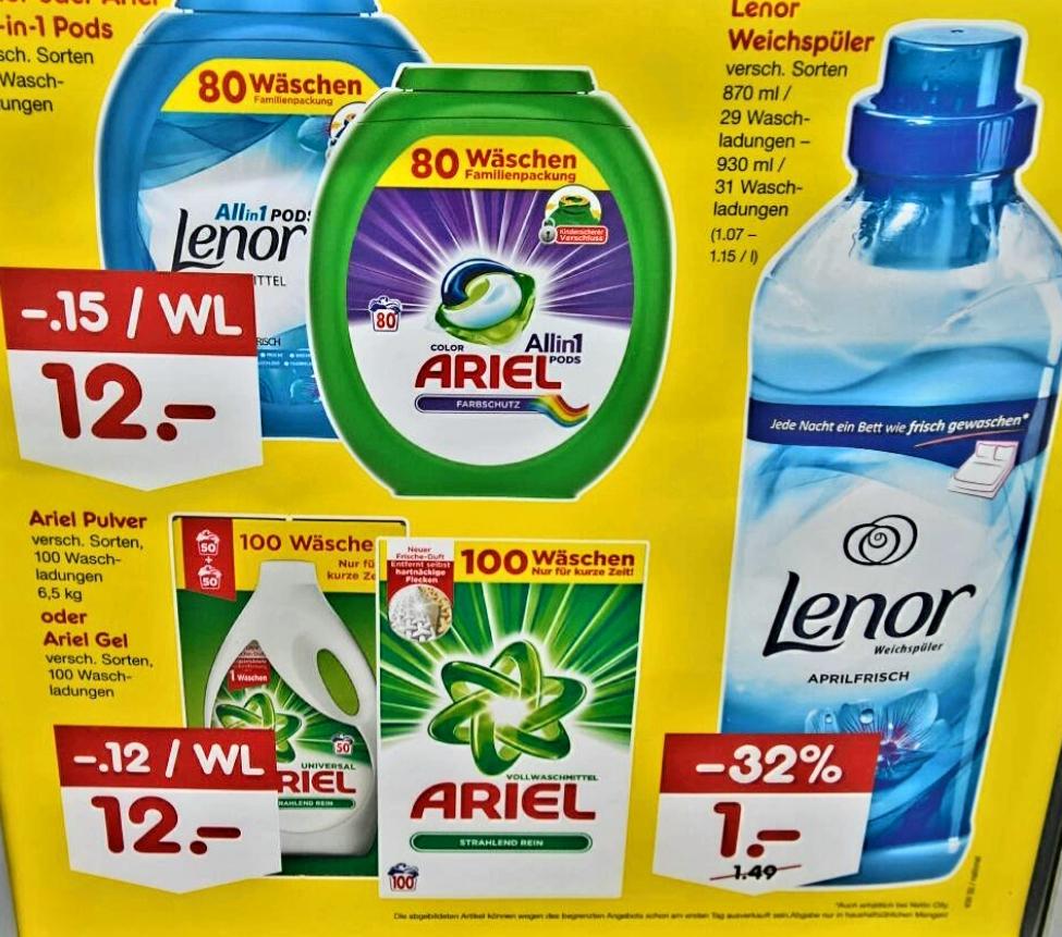 (Lokal) Netto Bausendorf - Ariel & Lenor Waschmittel und Weichspüler für nur 12,00 € / 1,00 €