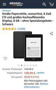 Kindle Paperwhite 4 8gb - ohne Spezialangebote