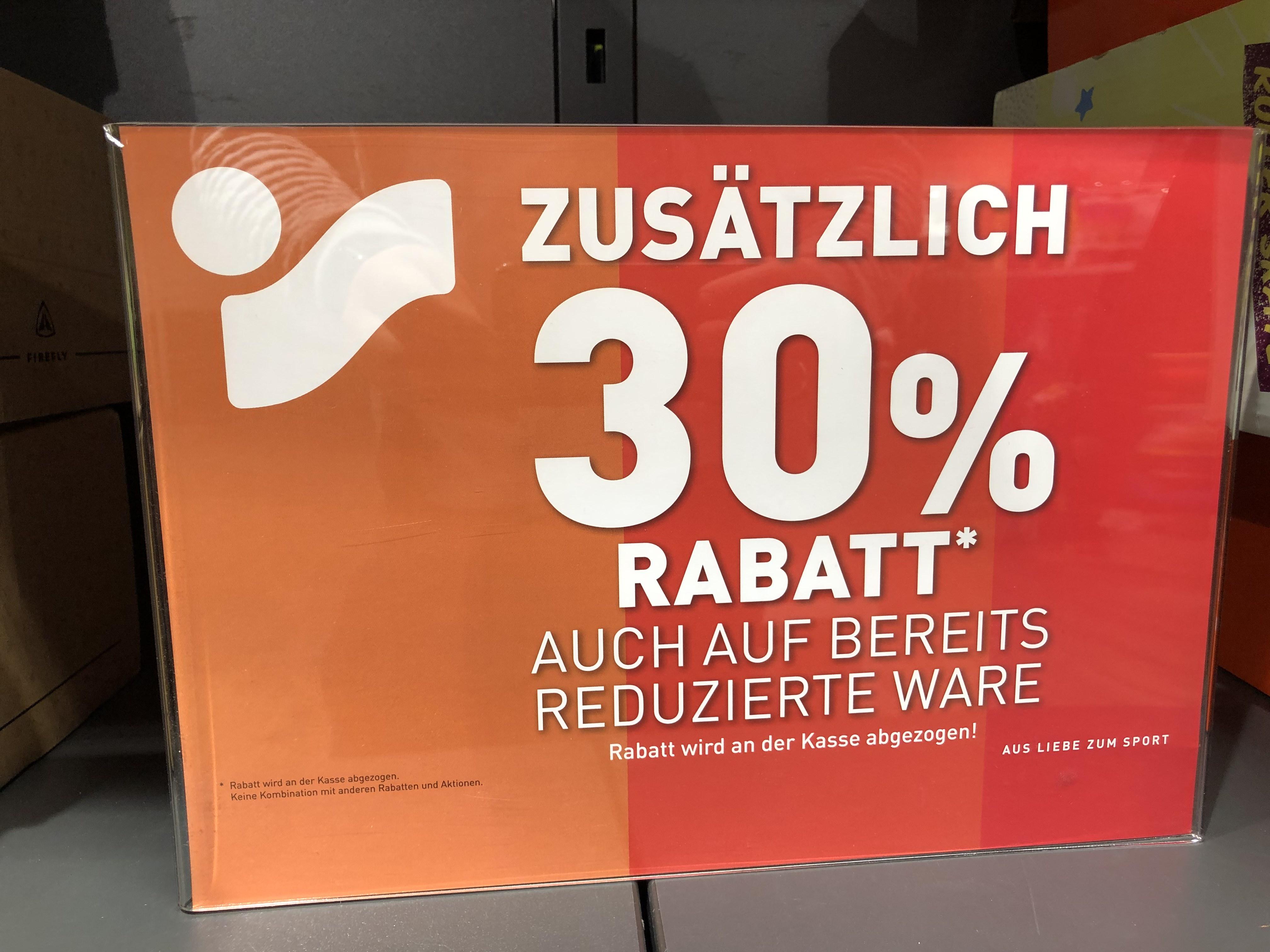 [Lokal Bielefeld] Intersport Voswinkel 30 Prozent Rabatt.