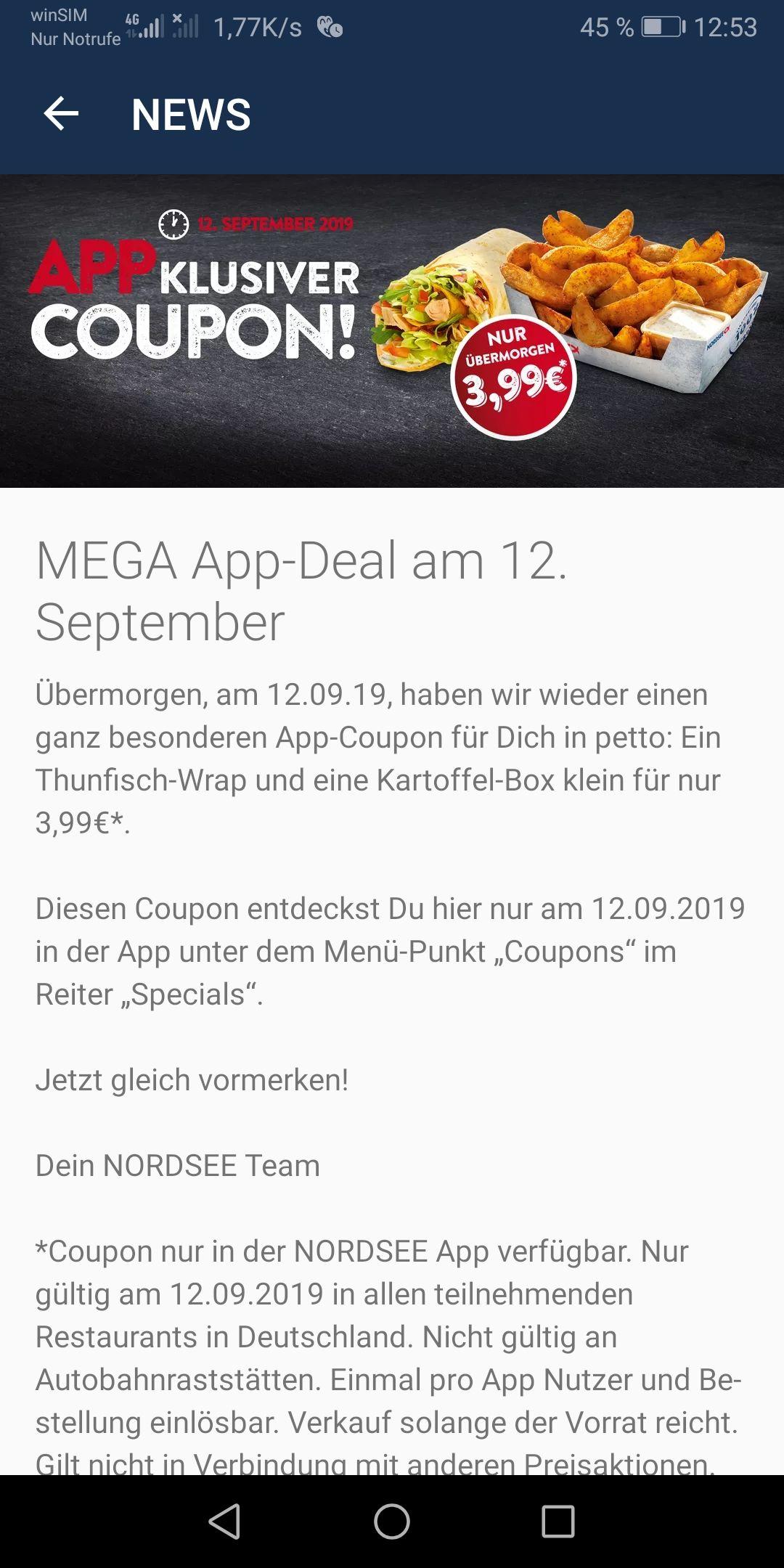 Nordsee App: Thunfisch-Wrap und Kartoffelbox klein am 12.9