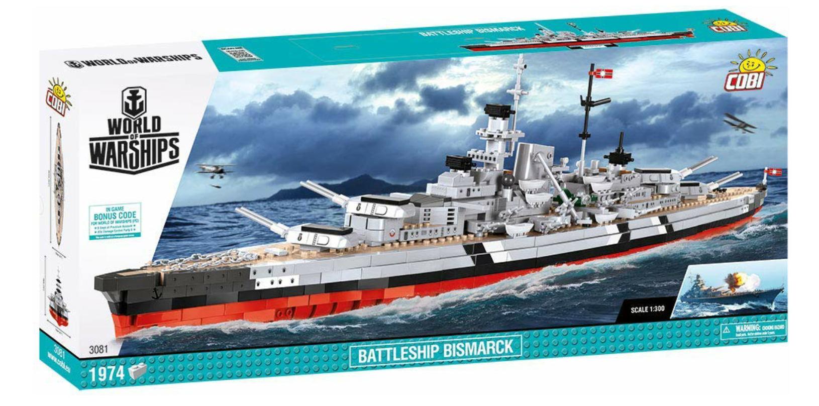 Cobi (3081) World of Warships Battleship Bismarck Limited Edition inkl. Bonus-Code (Lego-kompatibel)
