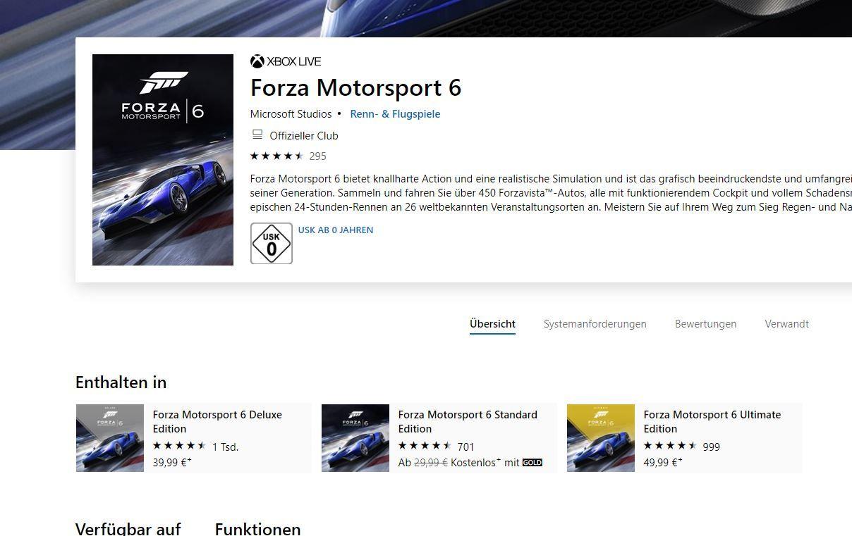Forza Motorsport 6 Standard Edition (mit Xbox Gold)