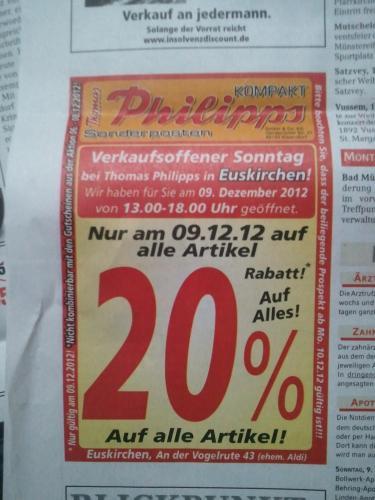 NUR HEUTE - 20% auf Alles Thomas Philipps @ 53894 Euskirchen