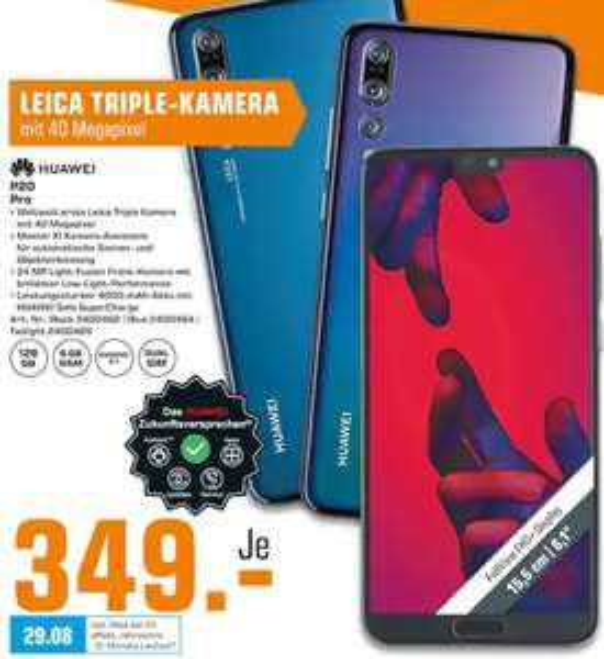 "[Lokal: Saturn Berlin & Umgebung] Huawei P20 Pro - 6.1"" Dual-SIM Smartphone (128GB, 6GB, 4000mAh)"