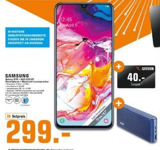 [Regional Saturn Hamburg-Alle Märkte/Norderstedt] Samsung Galaxy A70 + AKG 'S30' BT-Lautsprecher + 40€ Coupon für 299,-€