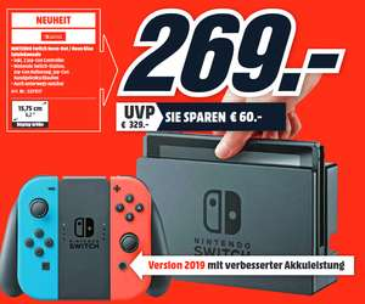 [Lokal: Media Markt Emden, Leer & Papenburg ab 12.9. 8Uhr] Nintendo Switch Neon-Rot/Blau neue Edition 2019   Huawei P20 Pro für 333€   uvm.